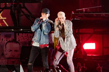 "Musicians from Linkin Park; Mike Shinoda and Joe Hahn perform with MAchine Gun Kelly during the ""Linkin Park And Friends Celebrate Life In Honor Of Chester Bennington"" concert at the Hollywood Bowl on October 27, 2017 in Hollywood, California."