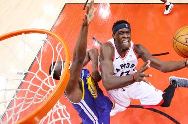 Pascal Siakam of the Toronto Raptors attempts a layup against the Golden State Warriors during Game 1 of the 2019 NBA Finals