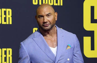 """In this July 10, 2019, file photo, Dave Bautista attends the LA Premiere of """"Stuber"""" at the Regal LA Live on Wednesday, July 10, 2019, in Los Angeles. (Photo by Willy Sanjuan/Invision/AP, File)"""