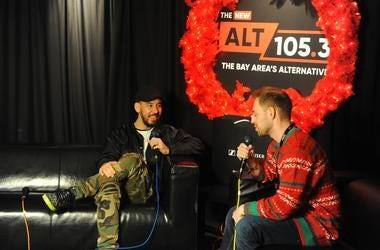 Mike Shinoda With Dallas Backstage At ALT 105.3's Not So Silent Night 2018