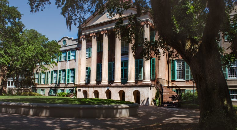 university building with columns