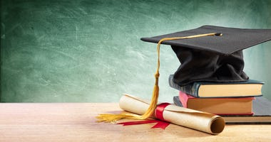 Graduation cap chalkboard and books