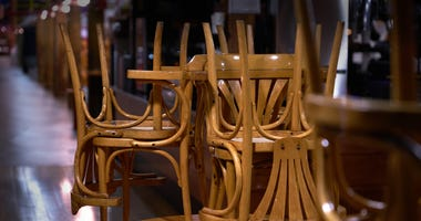 Bar chairs on table