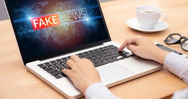 fake news on a laptop