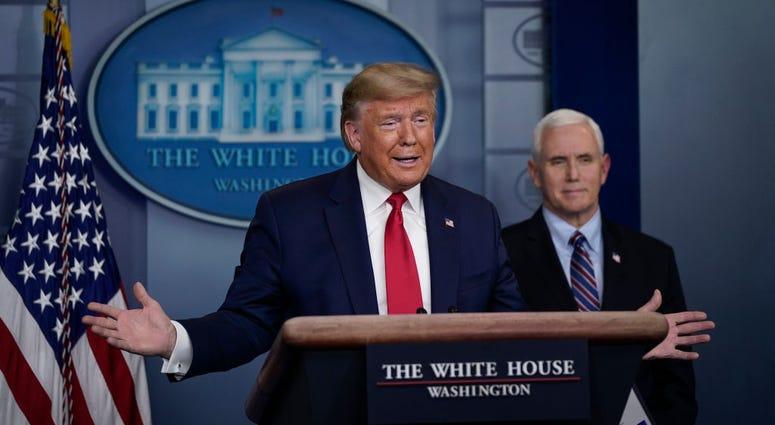 Trump at a white house potium