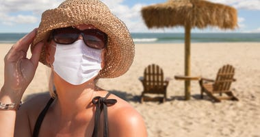 woman on vacation wearing a mask