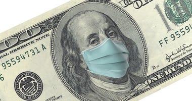 franklin on a bill wearing a mask