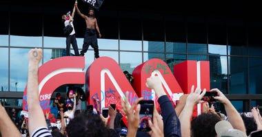 protests at CNN Center in Atlanta