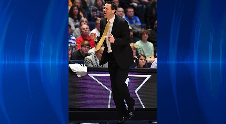 Vanderbilt Commodores head coach Bryce Drew reacts after a play during the first half against the Texas A&M Aggies of the SEC conference tournament at Bridgestone Arena.