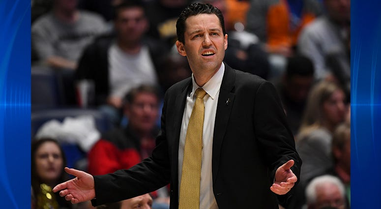 Vanderbilt Commodores head coach Bryce Drew questions a non call during the first half against the Texas A&M Aggies of the SEC conference tournament at Bridgestone Arena.
