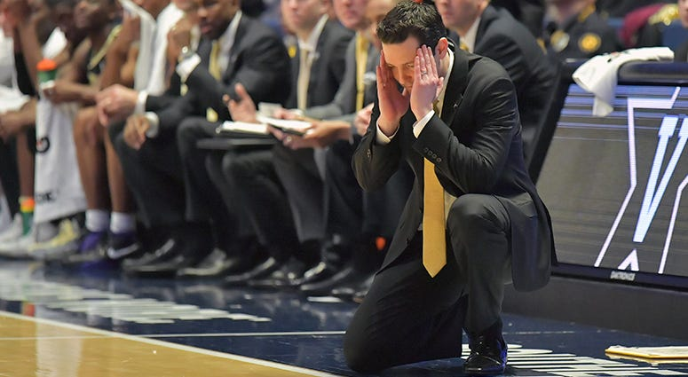 Vanderbilt Commodores head coach Bryce Drew reacts in the first half against the Texas A&M Aggies in the SEC conference tournament at Bridgestone Arena.