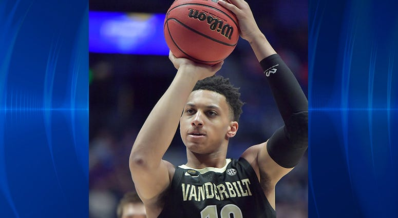 Vanderbilt Commodores forward Matthew Moyer (13) shoots the ball in the first half against the Texas A&M Aggies in the SEC conference tournament at Bridgestone Arena.