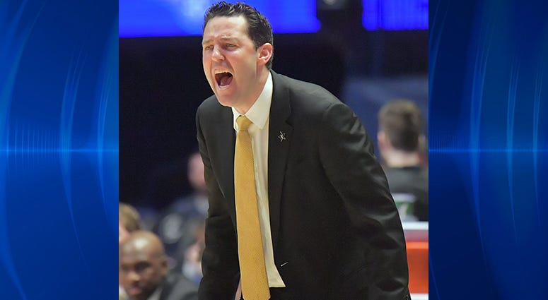 Vanderbilt Commodores head coach Bryce Drew reacts in the second half of the SEC conference tournament against the Texas A&M Aggies at Bridgestone Arena.