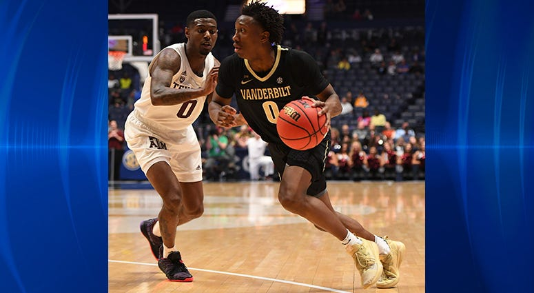 anderbilt Commodores guard Saben Lee (0) works against Texas A&M Aggies guard Jay Jay Chandler (0) during the second half of the SEC conference tournament at Bridgestone Arena.