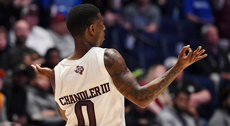 Texas A&M Aggies guard Jay Jay Chandler (0) celebrates after a basket against the Vanderbilt Commodores during the second half of the SEC conference tournament at Bridgestone Arena