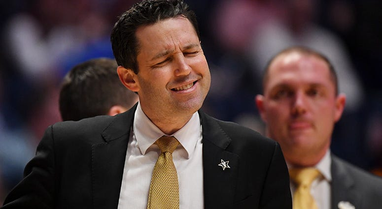 Vanderbilt Commodores head coach Bryce Drew reacts after a play against the Texas A&M Aggies during the second half of the SEC conference tournament at Bridgestone Arena