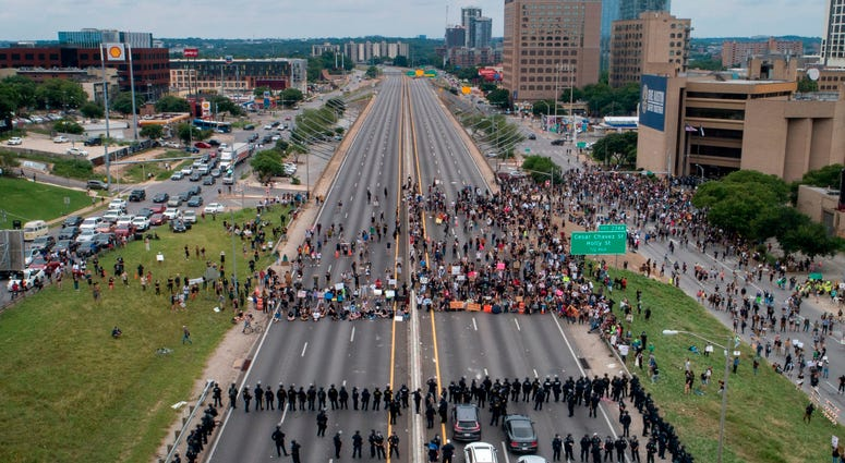 Protesters in downtown Austin