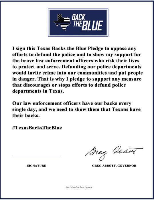 Back The Blue pledge