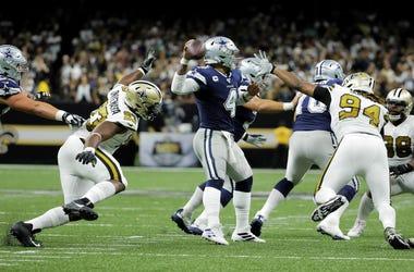 Dallas Cowboys quarterback Dak Prescott, against New Orleans Saints defense