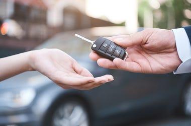 Car, Keys, GIft, Transaction, Sale, Car Background, Hands, Man, Woman