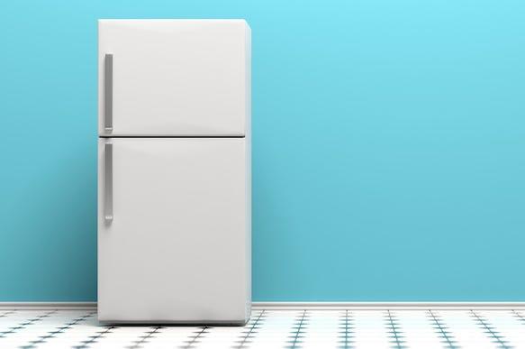 Refrigerator, Fridge, Tiled Floor, Blue Background