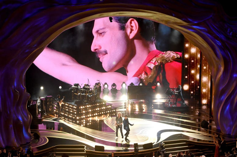 Queen performing at the Academy Awards