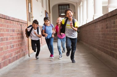 kids running in school