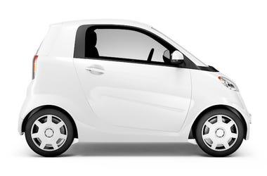 Smart Car, Mini Car, White, Side View, Portrait