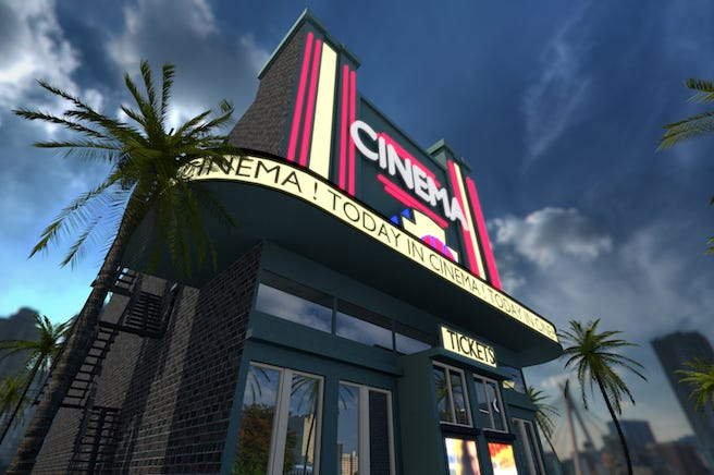 Movie Theater, Marquee, Sign, Outdoors, Cityscape