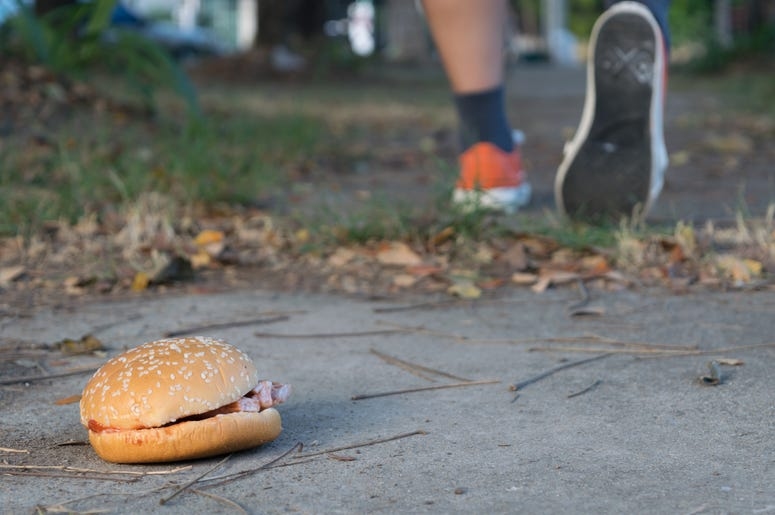 Person Running From Burger