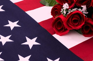 Roses, American Flag, Fallen Soldier