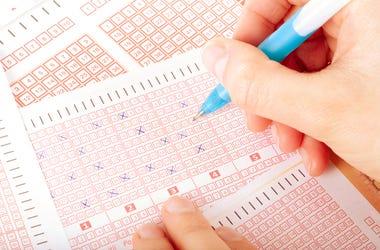 Hand, Lottery Ticket, Pen