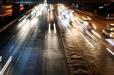 Highway, Speed Trail, Lights, Dark, Headlights, Night
