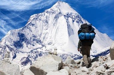 Climber, Mount Everest, Climbing, Mountain, Snow, Sky, Blue, Mountainscape