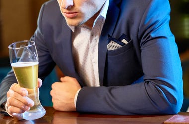 Man, Suit, Drinking, Beer, Bar, Stressed