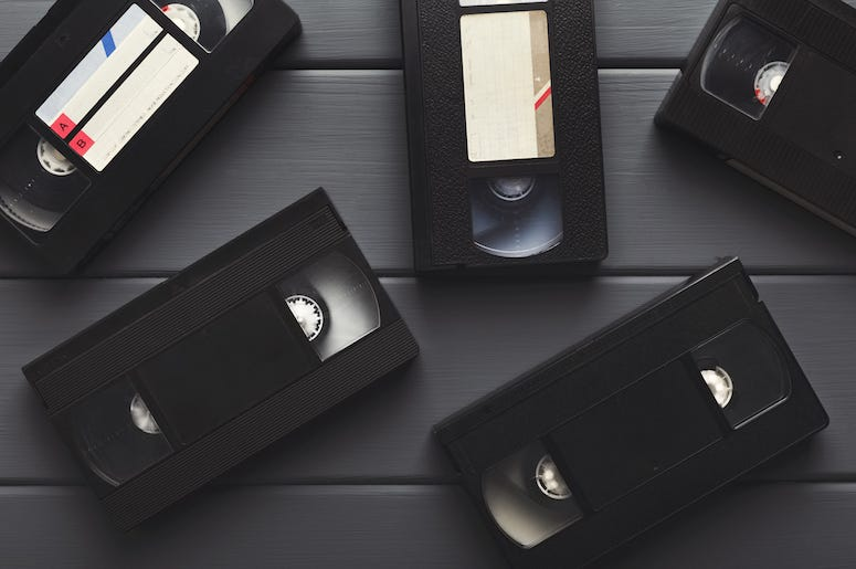 VHS, Tapes, Table, Gray Wooden Background