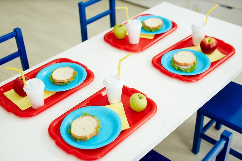 School Lunch, Table, Sandwiches, Apple, Drink