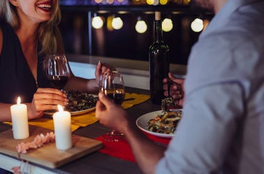 Date, Man, Woman, Romantic, Dinner, Evening, Smile, Outdoors