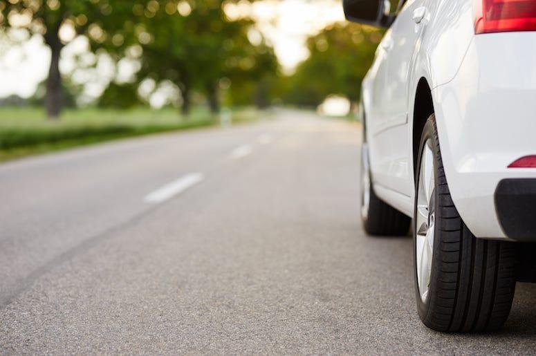White Car, Driving, Road, Street