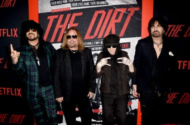 "Nikki Sixx, Vince Neil, Mick Mars and Tommy Lee of Motley Crue arrive at the premiere of Netflix's ""The Dirt"""