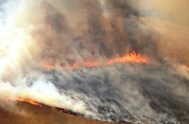 Lexton bush fire site in western Victoria, Australia