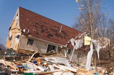 Damaged house from tornado