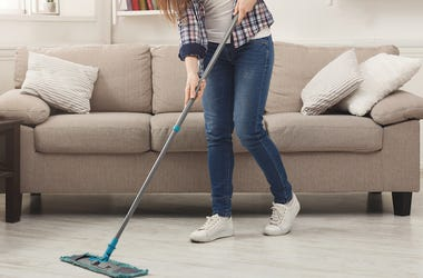 Young Woman, Cleaning, House, Mopping, Living Room, Couch, Clean Floor