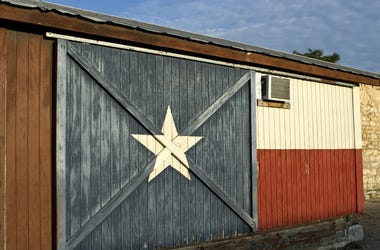 Texas Flag, Painted, Historic Building, Wall, Door