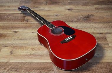 Red Guitar, Wooden Floor