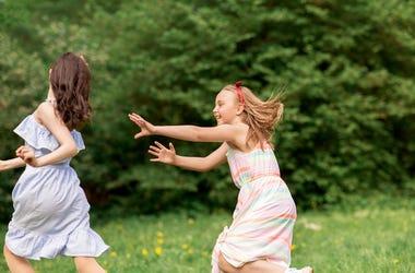 Girls Playing Tag