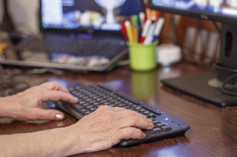 Elderly, Old, Woman, Typing, Keyboard