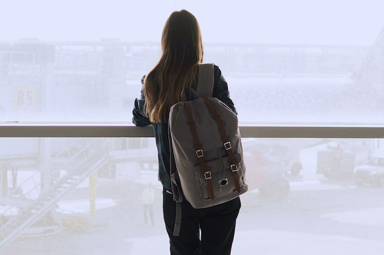 Woman, Backpack, Standing, Airport, Terminal, Window