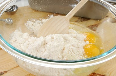 Cake Mix, Glass Bowl, Eggs, Wooden Spatula