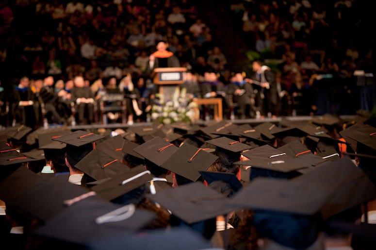 Caps, Gowns, Graduation, Speech, Speaker
